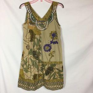 G. Harvest Green Dress Sleeveless Embellished Neck